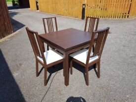 Ikea Brown Bjursta Extending Table 90-169cm & 4 Borje Chairs FREE DELIVERY 150