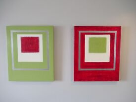 Red, green & silver hand painted abstract canvas