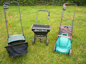 JOB LOT CONSISTING OF LAWN MOWER..SCARIFIER & SEED SPREADER
