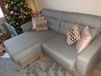 LINOSO 3 SEATER SOFA CHAISE & 2 SEATER SOFA BY SOFOLOGY BLUE/SILVER