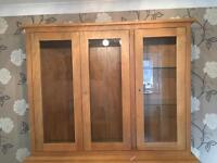 Oak sideboard display cabinet