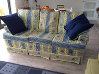 3 seater Multiyork sofa bed with Designer's Guild loose covers + matching ottoman and curtains