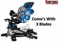 DRAPER 83677 210MM SLIDING COMPOUND MITRE SAW + 3 Blades