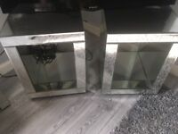 Two mirrored side tables