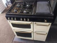 Black & cream new home 80cm gas cooker grill & oven good condition with guarantee