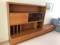 Retro Mid Century Schreiber Wall Bar Display Sideboard Unit - 2 pieces