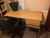 Desk with drawers including a very comfy leather chair
