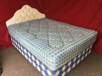 DOUBLE DIVAN BED WITH HEADBOARD AND MATTRESS,CAN DELIVER
