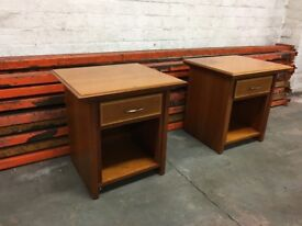 2 x cherry wood beside tables