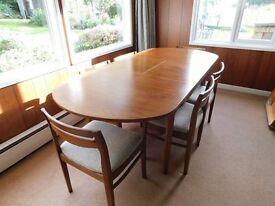 Retro / Vintage (early 1970's) Nathan Solid Wood Oval Extending Dining Table and Chairs