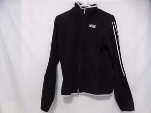 NIKE size large zip up front fleece jacket with double white stripes down the sleeves and cuff of sleeves and waistline