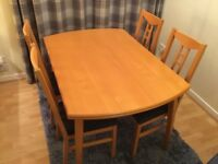 Ikea birch dining table & chairs plus matching sideboard