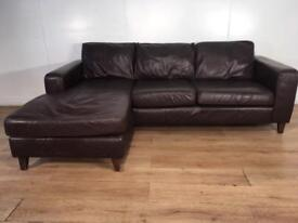 Brown large real leather corner sofa with free delivery within 10 miles