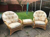 Cane furniture set. Good condition. It was kept in our conservatory and is faded from the sun