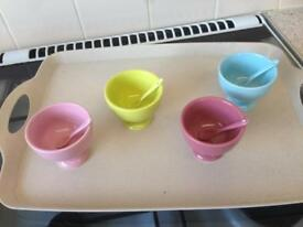 Pickle bowls matching spoons