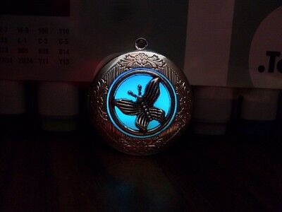 GLOW IN THE DARK Butterfly Blue Aqua White Spring Silver Photo Locket Necklace