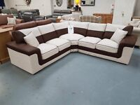 Brand New Brown/Beige Corner Sofa. Free Delivery Up To 25 Miles. Cash On Delivery.