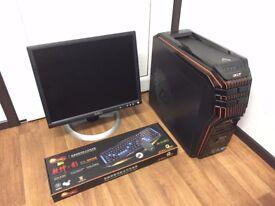 Acer Predator Gaming Computer PC, Setup with Monitor (Intel i5, 4GB RAM, 500GB HD, Nvidia GT 340)