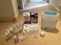 Avent electric breast pump + avent sterilisation kit with manual pump and bottles etc