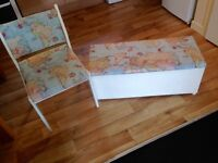 Wooden chair and Ottoman with modern map print design £80 for the pair