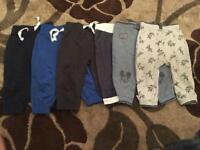 6 x baby boys bottoms size 9-12 months