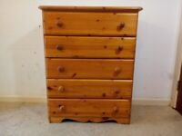 Quality Solid Pine Chest Of 5 Drawers Bedroom Furniture Delivery Available C080020