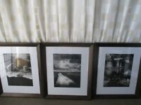 MODERN HEAVY DARK WOOD FRAMED BLACK AND WHITE PHOTO PRINTS PICTURES CLOUDS, RIVER, BOATHOUSE