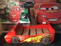 Disney car bed, with curtains matching bedding & lamp shade