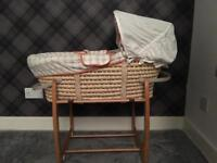 Unisex Mamas and Papas Moses Basket with stand, mattress and sheets