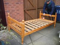 Solid pine single bed frame, complete with all fixing bolts and nuts