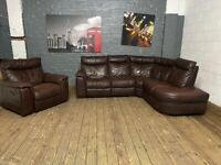 REAL LEATHER COMFY CORNER SOFA AND ARMCHAIR RECLINER CAN DELVIER