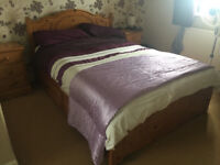Lovely Pine Double Bed with 4 storage drawers. and mattress. delivery possible.