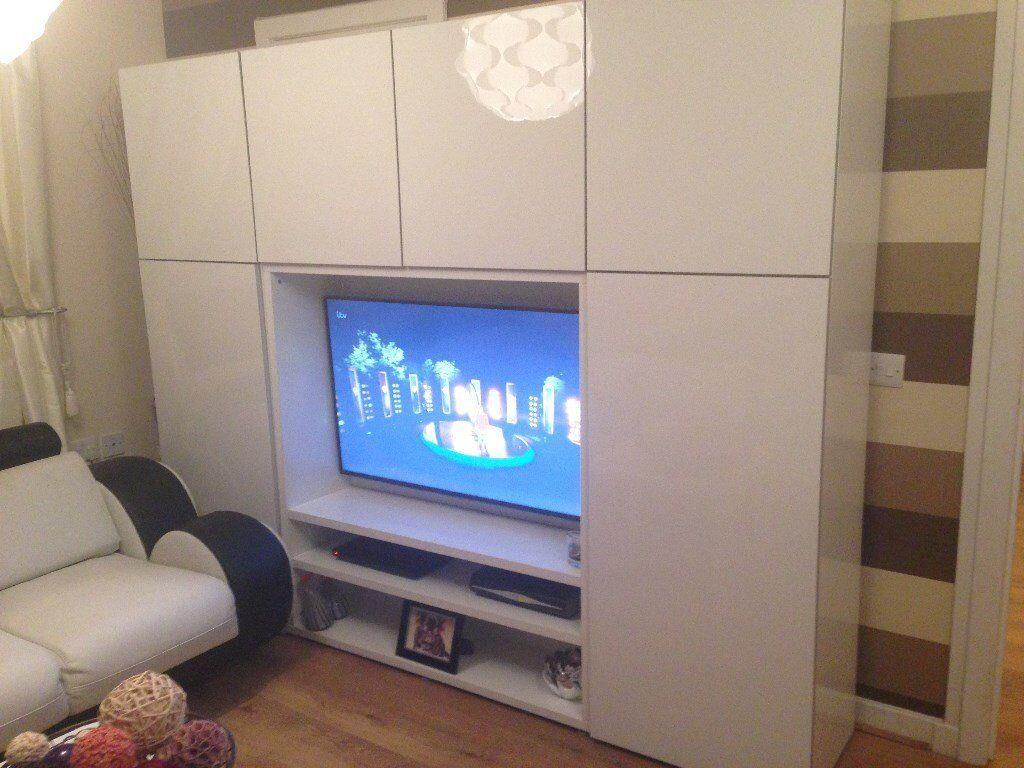 Ikea Betsa White Gloss Tv Storage Combination Unit