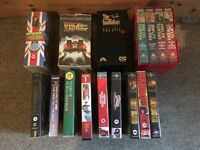VHS video tape box sets - Back to the future, fawlty towers, blackadder, the godfather, rambo