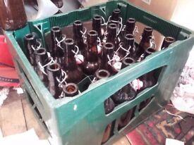 20 Flip top 500ml beer bottles in a crate. Swing top Grolsch home brew Homebrew