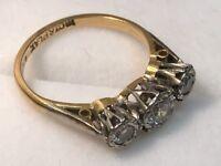 18ct Gold 3 stone diamond ring. Offers?