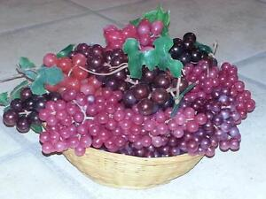 Decorative Grapes and Wicker Basket