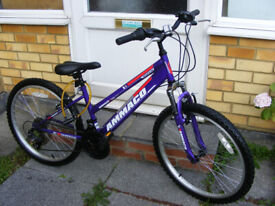 """GIRLS 24"""" WHEEL FRONT SUSPENSION BIKE 13"""" FRAME HARDLY BEEN USED AGE 8+"""