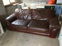 FREE for uplift - Three seater brown leather sofa