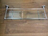 Bathroom chrome and glass shelf