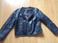 Ladies Massimo Dutti Navy Soft Lambskin Leather Jacket EU 42/XL UK 14?