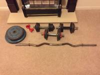 60kg Weights with EZ Curl bar and bicep bars