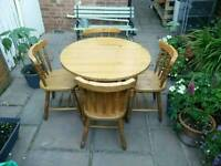 £60 solid pine dining table and four chairs farmhouse shabby chic project