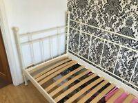 Ikea white metal vintage French single day bed with mattress