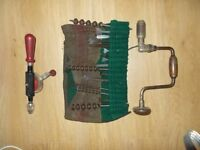 Carpenters Brace, tool roll, and hand drill