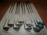 Golf equipment: 2 sets clubs, various others, 2 bags/trolleys. All good condition. See below prices.