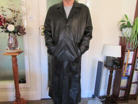 GENTS BLACK FULL LENGTH LEATHER COAT FOR SALE