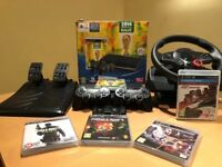 Sony PS3 12GB with 5 Games & Logitech GT Steering Wheel For Sale