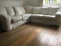 Cream corner sofa with washable covers