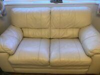 Cream 3 and 2 seater leather sofa